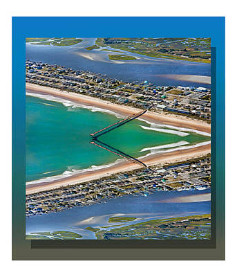 Tower Digital Art - Topsail Beach Aerial Reflection by Betsy Knapp