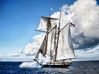 Historic Schooner Digital Art - Topsail Schooner by Peter Chilelli