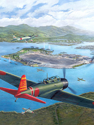 Harbor Painting - Tora Tora Tora The Attack On Pearl Harbor Begins by Stu Shepherd