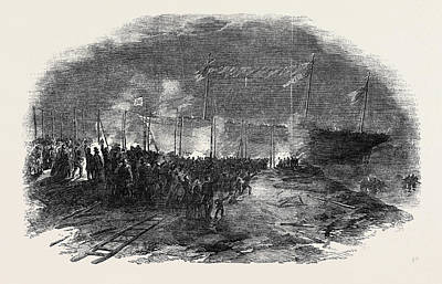 Torchlight Launch Of The Iron Screw Steamer Azoff Art Print by English School