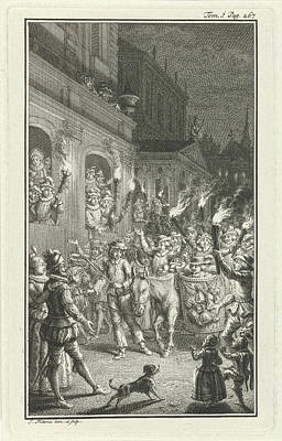 Torchlight Procession Through A City, Print Maker Jacob Art Print by Jacob Folkema