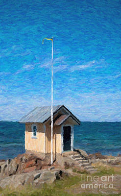 Impressionistic Digital Painting - Torekov Beach Hut Painting by Antony McAulay