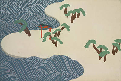 Nature Abstract Drawing - Torii And Sea Wave, Kamisaka, Sekka, Artist by Artokoloro