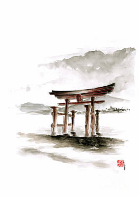 Printmaking Painting - Torii Gate by Mariusz Szmerdt