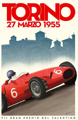 Torino Grand Prix 1955 Art Print by Georgia Fowler