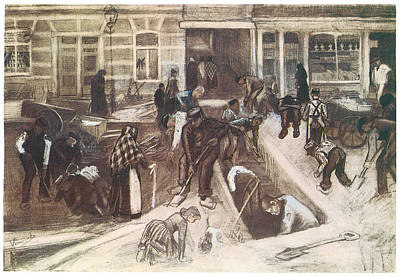 Tears Drawing - Torn-up Street With Diggers by Vincent van Gogh