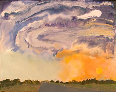 Encaustic Painting - Tornado - Near Sioux City Nebraska - May 28 2004 by Marilyn Fenn