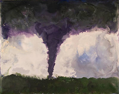Encaustic Painting - Tornado - Phoenix Az - August 15 2004 by Marilyn Fenn