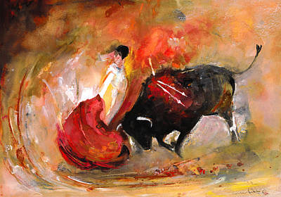 Torero Wall Art - Painting - Toro 777 by Miki De Goodaboom