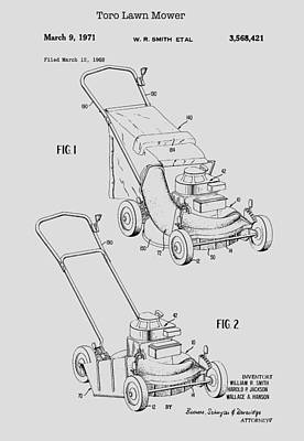 Drawing - Toro Lawn Mower Patent 1971 by Mountain Dreams
