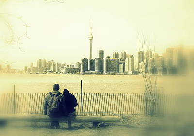 Photograph - Toronto Blurry Romance In Yellow by Valentino Visentini