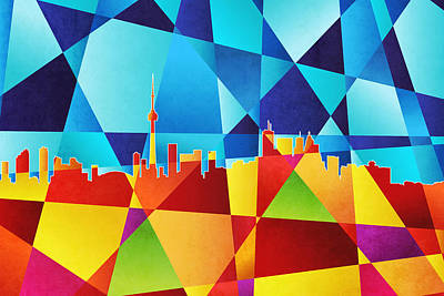 Abstract Skyline Digital Art - Toronto Canada Skyline by Michael Tompsett