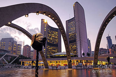 Photograph - Toronto City Hall Evening by Charline Xia