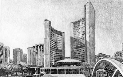 Drawing - Toronto City Hall I Study by Duane Gordon