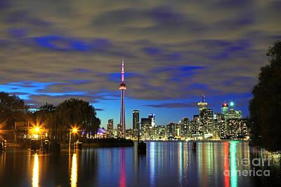Toronto In Blue Light Art Print by Charline Xia