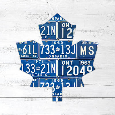 Maple Leaf Art Mixed Media - Toronto Maple Leafs Hockey Team Retro Logo Vintage Recycled Ontario Canada License Plate Art by Design Turnpike