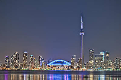 Photograph - Toronto Night Skyline Cn Tower Downtown Skyscrapers Sunset Canad by Marek Poplawski