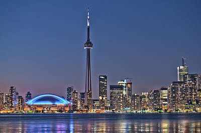 Toronto Night Skyline Cn Tower Downtown Skyscrapers Sunset Canada Art Print