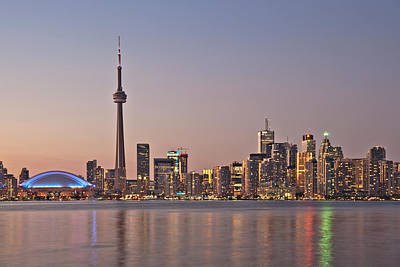 Toronto Night Skyline Tower Downtown Skyscrapers Sunset Canad Art Print