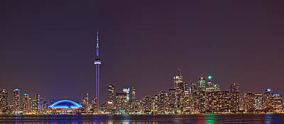 Photograph - Toronto Night Skyline Tower Downtown Skyscrapers Sunset Canada by Marek Poplawski