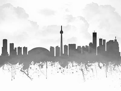 Canadian Mixed Media - Toronto Ontario Skyline - Gray 03 by Aged Pixel