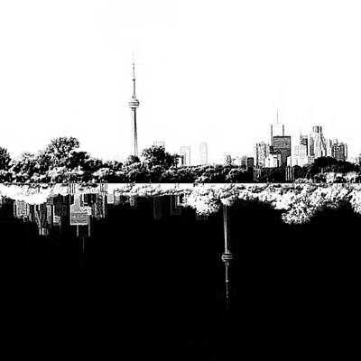 Natasha Drawing - Toronto Reflection Day And Night by Natasha Marco