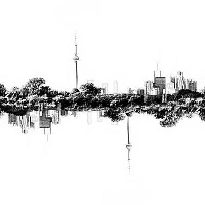 Natasha Drawing - Toronto Reflection by Natasha Marco