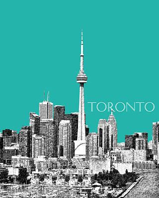 Pen Digital Art - Toronto Skyline - Teal by DB Artist