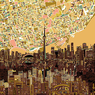 Vintage Map Painting - Toronto Skyline Abstract 9 by Bekim Art