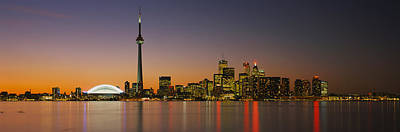 Toronto Skyline At Dusk, Ontario Canada Art Print by Panoramic Images