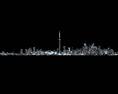 Photograph - Toronto Skyline At Night From Centre Island Monochrome by Brian Carson