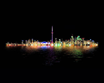 Toronto Skyline At Night From Centre Island Reflection Art Print