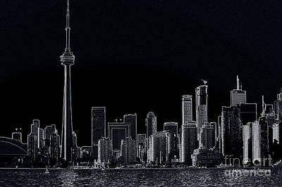 Photograph - Toronto Skyline Black And White Abstract by Jale Fancey