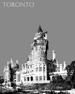 Pen Digital Art - Toronto Skyline Casa Loma - Pewter by DB Artist