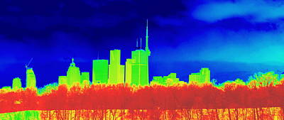 Invert Color Photograph - Toronto Skyline In Colors by Valentino Visentini