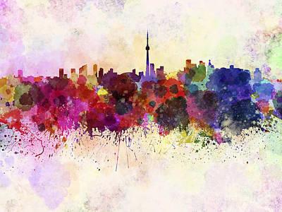 Splatter Digital Art - Toronto Skyline In Watercolor Background by Pablo Romero