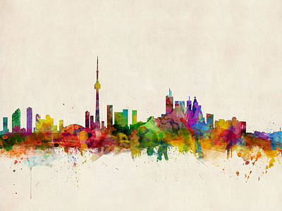 Canadian Digital Art - Toronto Skyline by Michael Tompsett