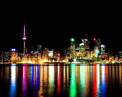 Print featuring the photograph Toronto Skyline Night by Brian Carson