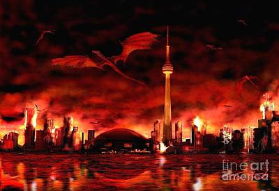 Inferno Digital Art - Toronto  Skyline Of Dragons  by Tom Straub