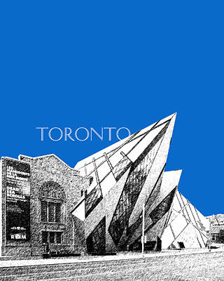 Toronto Skyline Royal Ontario Museum - Blue Art Print