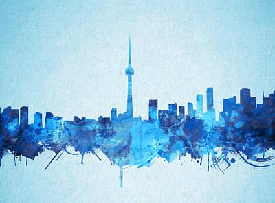Painting - Toronto Skyline Watercolor 3 by Bekim Art