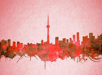 Painting - Toronto Skyline Watercolor 4 by Bekim Art
