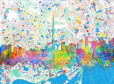 Painting - Toronto Skyline Watercolor 5 by Bekim Art