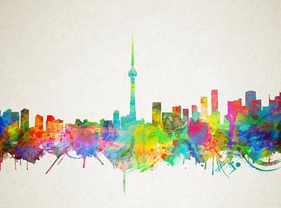 Abstract Skyline Paintings - Toronto Skyline Watercolor by Bekim M