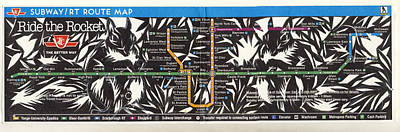 Squirrel Mixed Media - Toronto Subway Map Squirrels by Alfred Ng