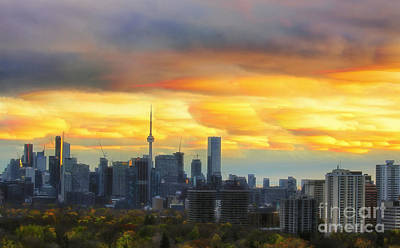 Photograph - Toronto Sunset Timelapse by Charline Xia