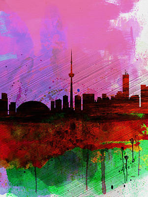 Scenic Painting - Toronto Watercolor Skyline by Naxart Studio