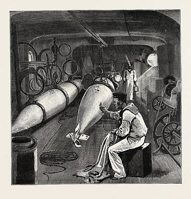 Torpedo Gun Boat, Dynamo Room In The Fore Part Of The Vessel Art Print by English School