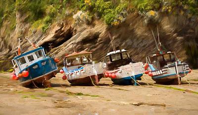 Digital Art - Torquay Fishing Boats by Ian Merton