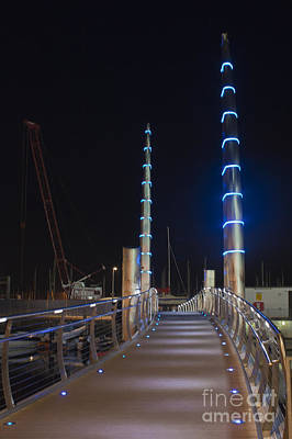 Photograph - Torquay Harbour Footbridge At Night by Terri Waters